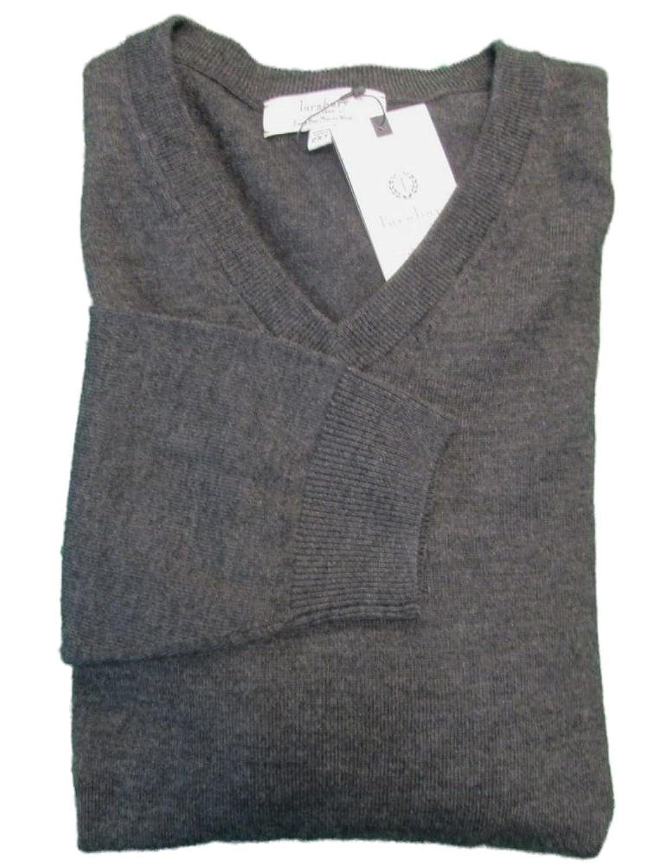 bdcca5d087377 chic Turnbury Extra Fine Merino Wool Charcoal Grey Heather L S V-Neck  Sweater