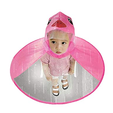 SuBoZhuLiuJ Cute Children Raincoat UFO Shape Umbrella Hat Cape Duck Rain  Jacket Boys Girls Poncho Cloak a00b731681cb