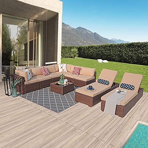 PATIORAMA Outdoor Furniture Sectional Sofa Set (9-Piece Set) All-Weather Brown Wicker with Beige Seat Cushions &Glass Coffee Table& Chaise Lounge Chair|Backyard, Pool| Steel Frame| Brown PE Wicker