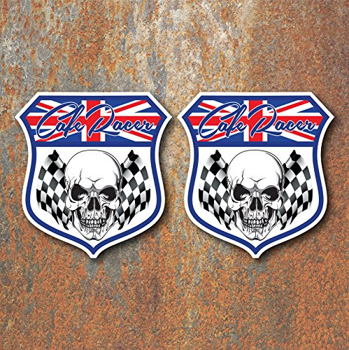 x2 Cafe Racer Skull Chequered Flag Vinyl Stickers ()