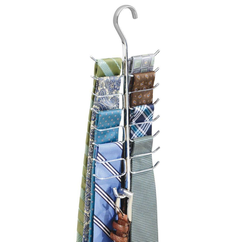 mDesign Corbatero con 17 ganchos para colgar corbatas, cinturones, pañuelos, chales etc. - Percha múltiple para organizar accesorios - Organizador de ...