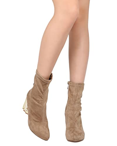 Women Faux Suede Structural Chunky Heel Bootie - Dressy Office Formal - Metallic Block Heel Boot - GD08 by