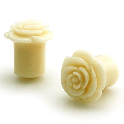 10f55aadb Amazon.com: 00g (9mm) Opaque Cream Acrylic Rose Ear Expander Ear Plugs:  Jewelry
