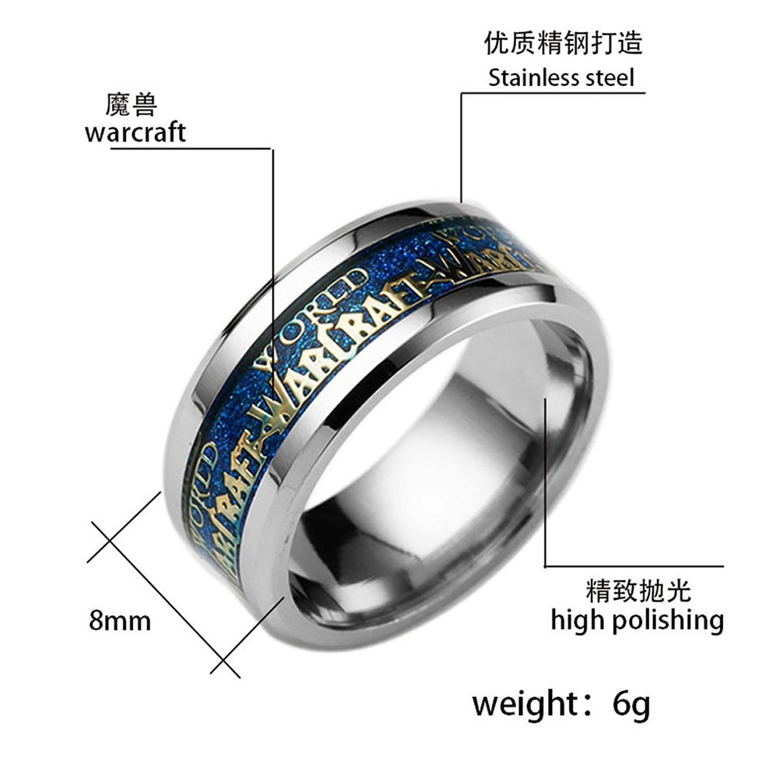 B stainless steel wedding bands Men Jewelry World of Warcraft Stainless Steel Ring Men Lord of the Rings Titanium Ring Amazon com