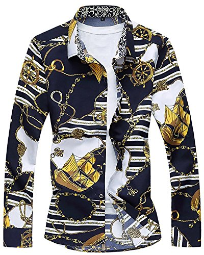 Men's Long Sleeves Fashion Anchor Stripes Print Button Down Dress Shirt, #2 Color, US M/40 = Tag 3XL