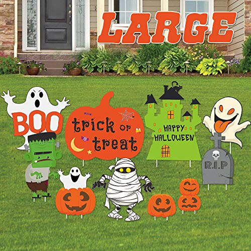 Halloween Decorations Outdoor | 10 Pack Track-or-Treat Corrugate Yard Stake Signs | Large Friendly Halloween Yard/Lawn