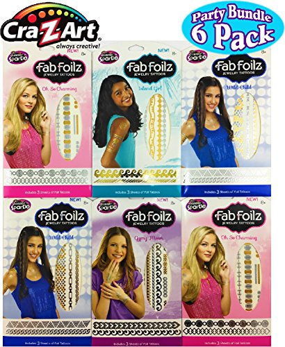 Fab Foilz Temporary Tattoos Gift Set Party Bundle – 6 Pack (Over 200 Tattoos)