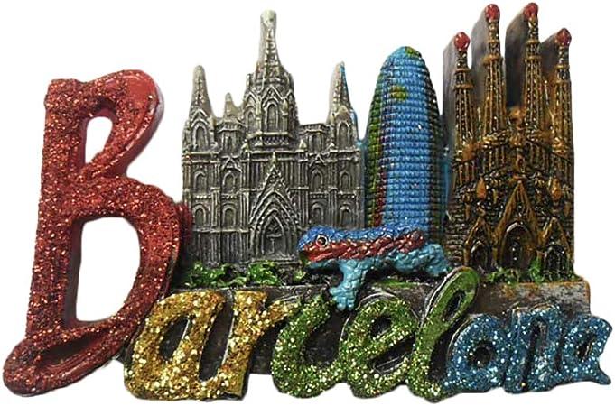 3D Barcelona Cartas España Refrigerador Nevera Imán Recuerdos Turísticos Hecho A Mano de Resina Artesanía Pegatinas Magnéticas Inicio Cocina Decoración Regalo de Viaje: Amazon.es: Hogar