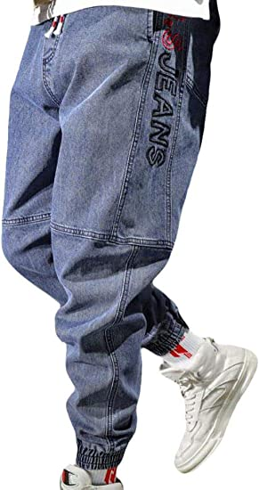 BYWX Men Loose Fit Stretch Drawstring Jogger Cargo Denim Pants Jeans
