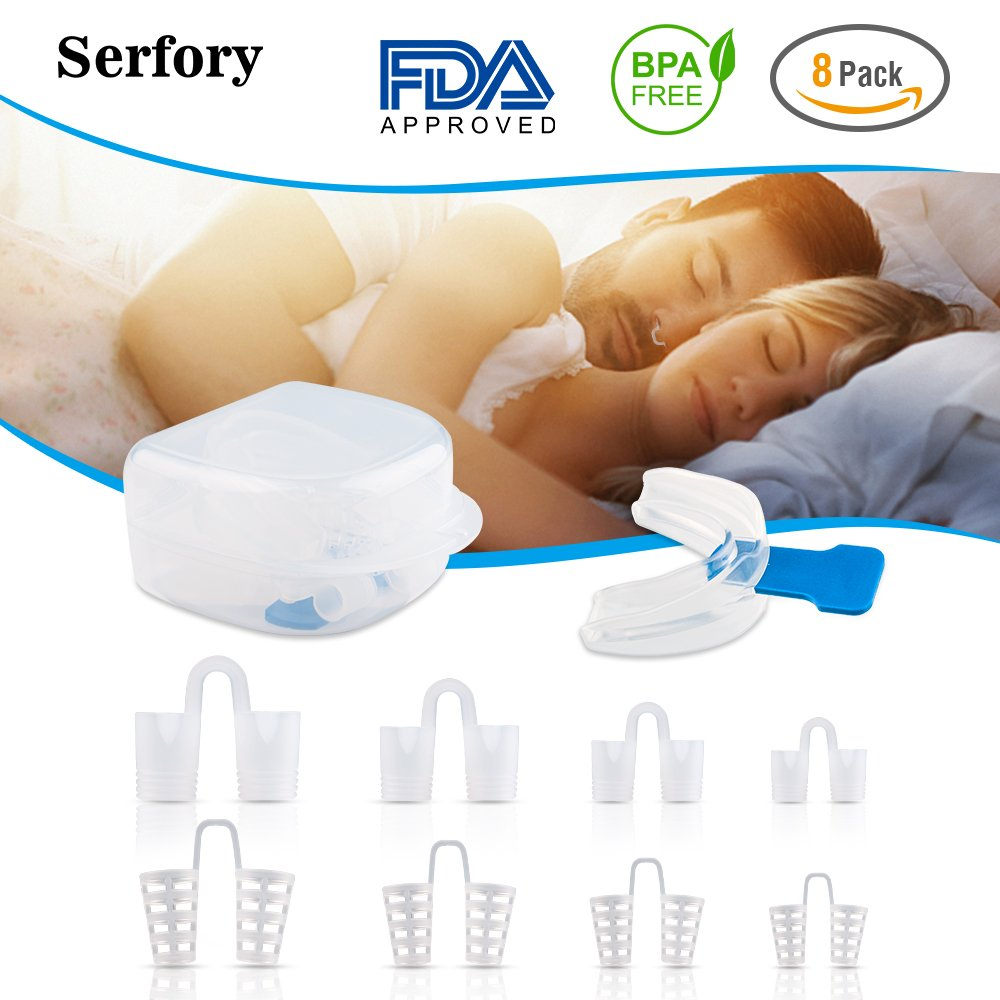 Big Sale Newly Launched Snore Reducing Aids Moldable Mouth Guard and 8 Pairs Nose Vents Buy One Get One Free Snoring Mouthpiece Anti Snoring Devices