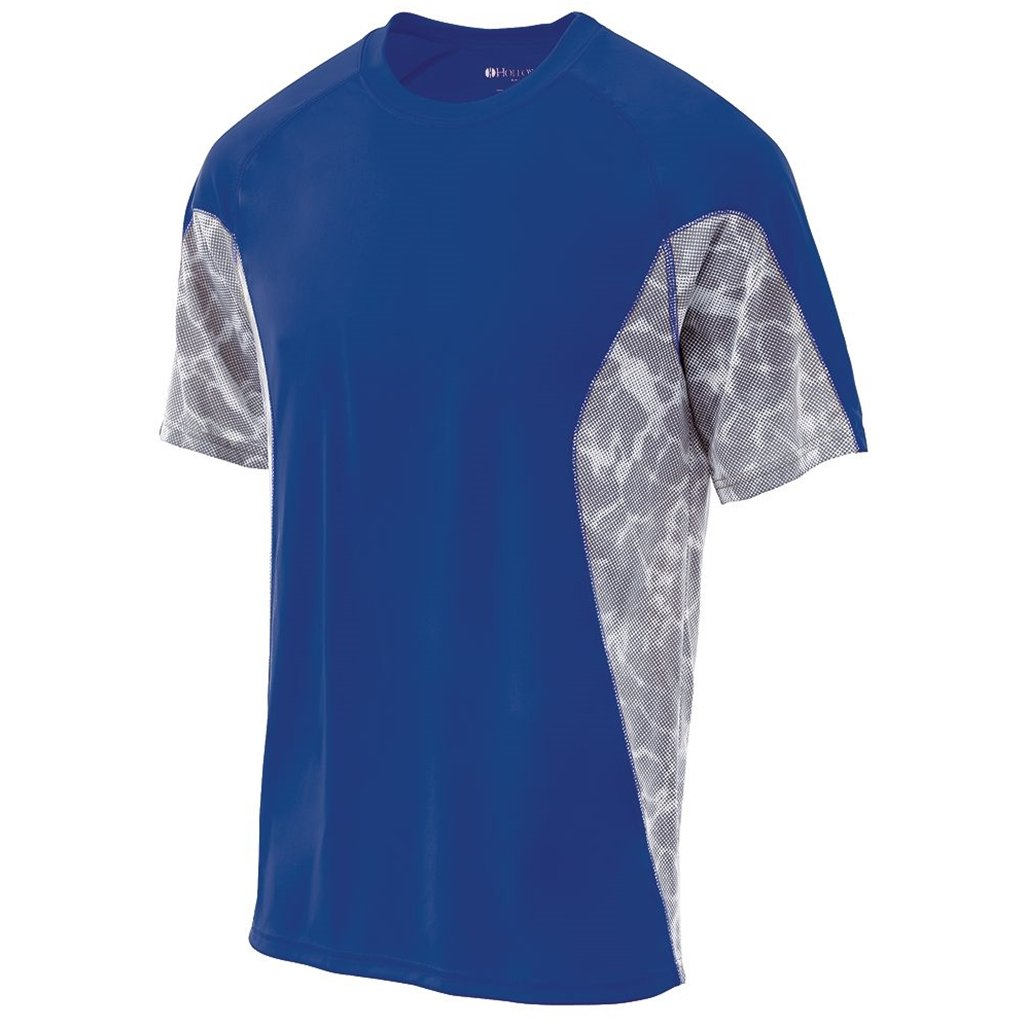 Holloway Youth Dry Tidal Shirt Semi-Fitted (Medium, Royal/White Print) by Holloway