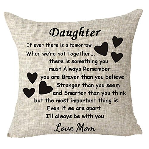 Best gift to daughter Throw Pillow Cover Cushion Case Cotton Linen Material Decorative 18 x 18 ()