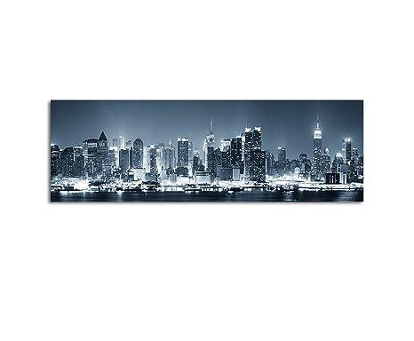 Wandbild Panorama New York City Manhattan Skyline Schwarz Weiss Blau In Der Nacht Auf Leinwand Und Keilrahmen Beste Qualitat Handgefertigt In