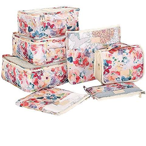 HiDay 7 Set Travel Organizer Bag System, 3 Packing Cubes + 3 Pouches + 1 Toiletry Organizer bag, Premium (Travel Set)