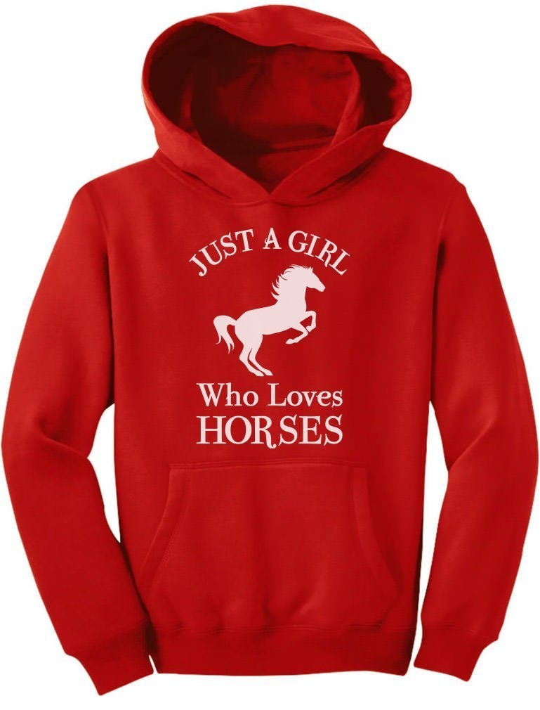 Tstars - A Girl Who Loves Horses Horse Lover Gift Youth Hoodie Large Red
