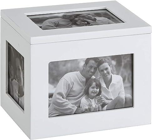 Caja portafotos Blanca de Madera Moderna para decoración Vitta - LOLAhome: Amazon.es: Hogar