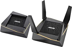 ASUS RT-AX92U AX6100 Wi-Fi 6 Tri-Band Whole Home Mesh Wi-Fi System for Large & Multi-Story Homes, Flexible SSID Setting, Wired Inter-Router Connections, AiProtection, Trend Micro Security, Pack of 2