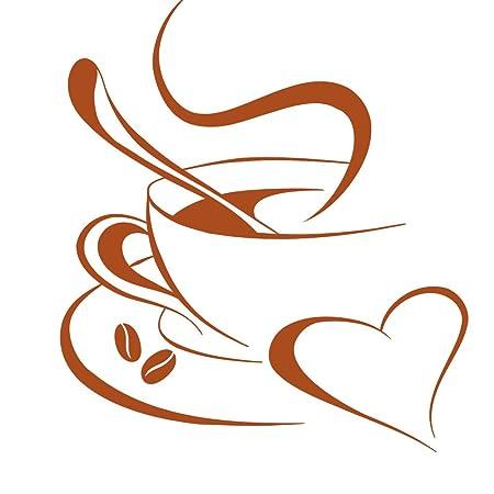 Grandora Tatuaje de Pared Taza de café corazón I Avellana (WxH) 10 ...