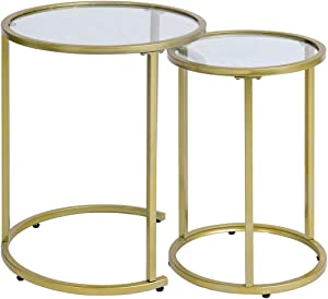 Glass Nesting Side Tables, Coffe Table Stacking end Table Set of 2(Gold)