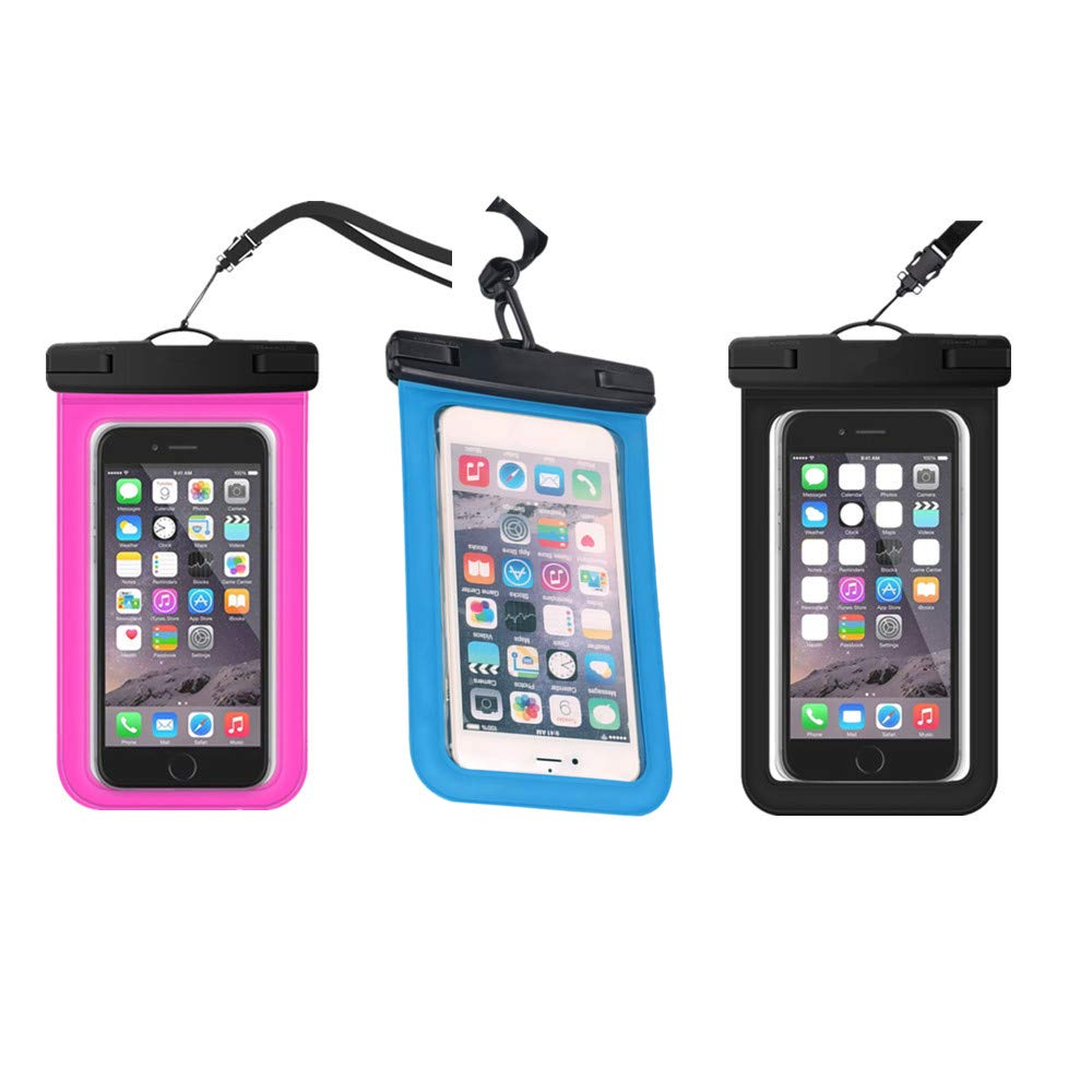3 Pack Float Waterproof Phone Pouch, Underwater Waterproof Cellphone Case Dry Bag with Lanyard Armband Compatible with iPhone Xs/Xr/Xs Max, 8/7/6s Plus, Samsung Galaxy S10 (Black+Blue+Meganta) by KuBi-18