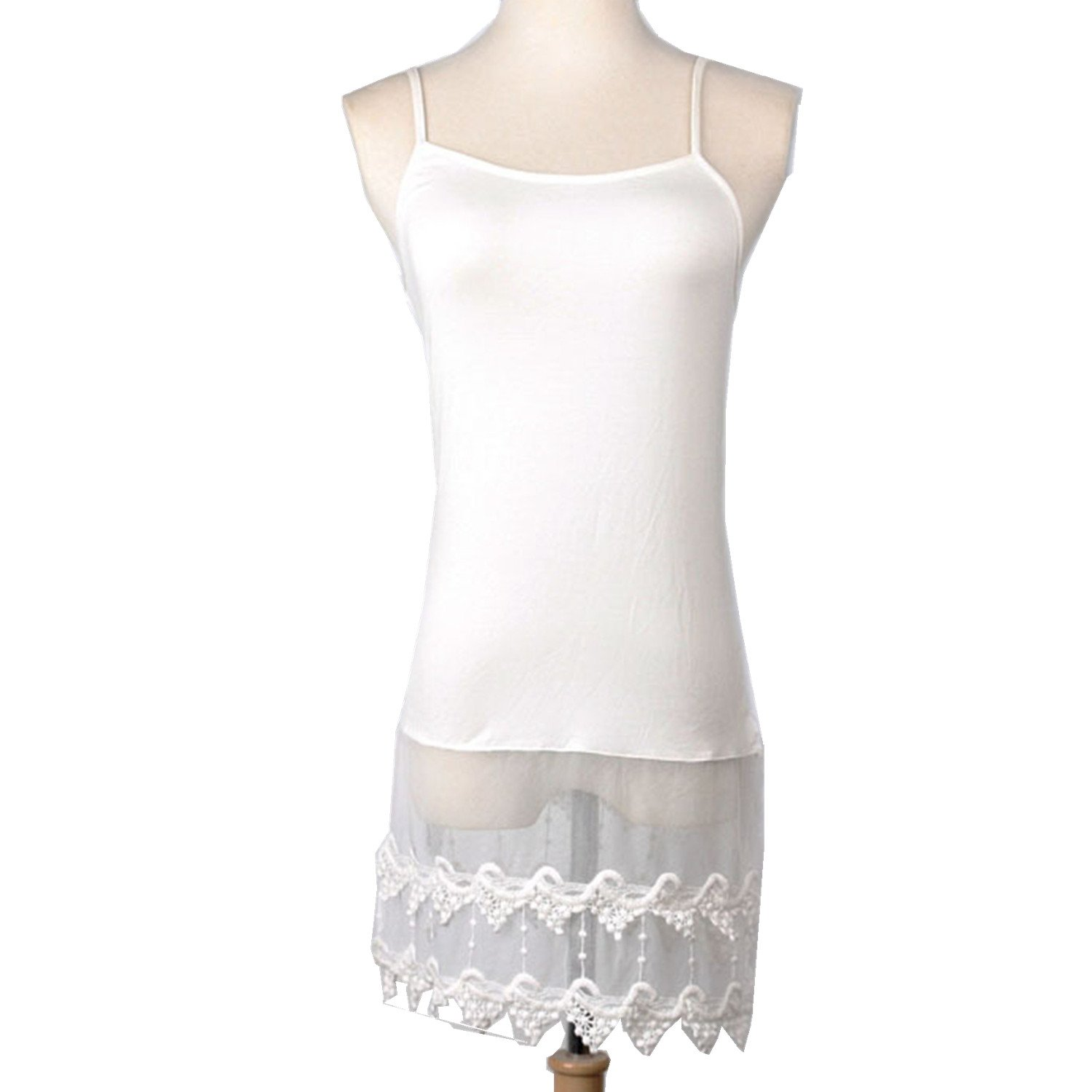 xhorizon SR1 Hi-Lo Chiffon Duffle Style Extender Lace Trimmed Camisole Top