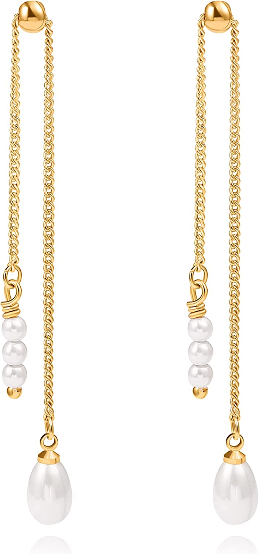 3mm Pearl \uff0680*42mm Chain Hook Long Chain earrings  Wedding  Jewelry Making  Rhodium Plated Brass  2pcs  ehp001