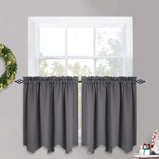 KITCHEN WINDOW VALANCE~MODERN~RED~BLACK~GRAY~Grey~Curtain~TOPPER~FLAT HANG