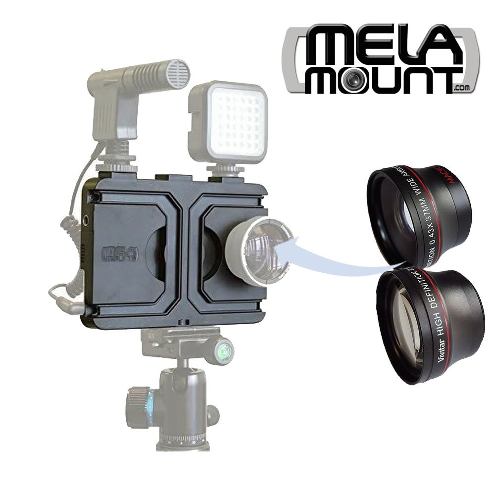 Melamount MM-IPHONE7 Video Stabilizer Pro Multimedia Rig for Apple iPhone 7 & 8 + Lens Kit 37mm TELEPHOTO & 37mm WIDE ANGLE