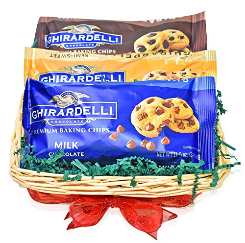 Ghirardelli Christmas Chocolate Chips - 3 Pack Variety Gift Basket - The Most Popular Chocolate Chip Flavors for Christmas Treats - 33.5oz Total - Christmas Gift for Family, Friends, Foodies, Him, Her (Most Popular Gift Baskets)