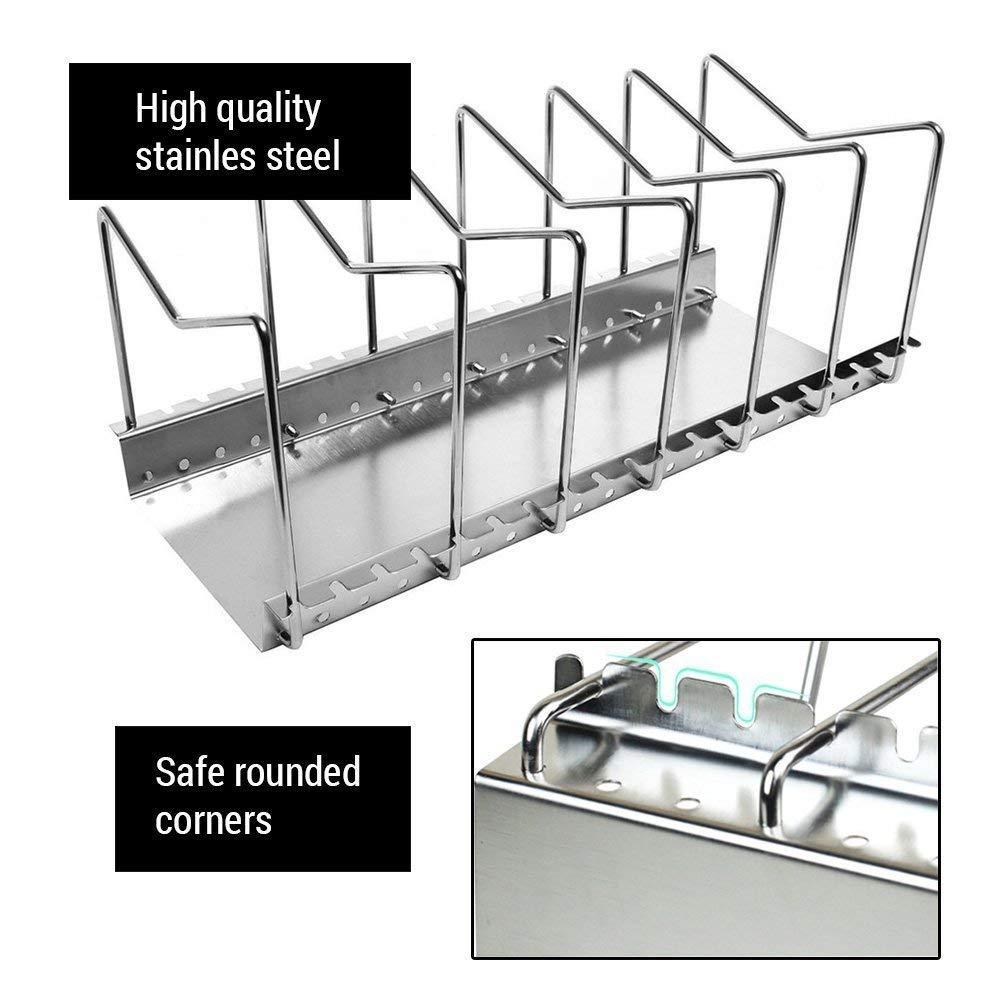 Organizador de sartenes y tapaderas - Soporte de metal cromado con 6 compartimentos para sartenes y tapas de ollas - Organizador de cajones y armarios de ...