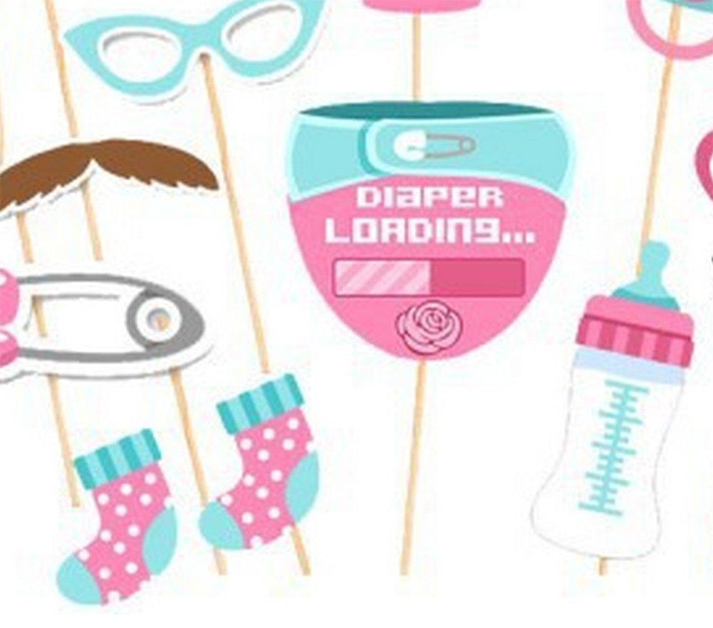 Vi.yo Photo Booth props Regalos Accesorios para decoración de fiesta de cumpleaños divertido DIY Kits de niña de incienso Set de 25pcs,niña versión