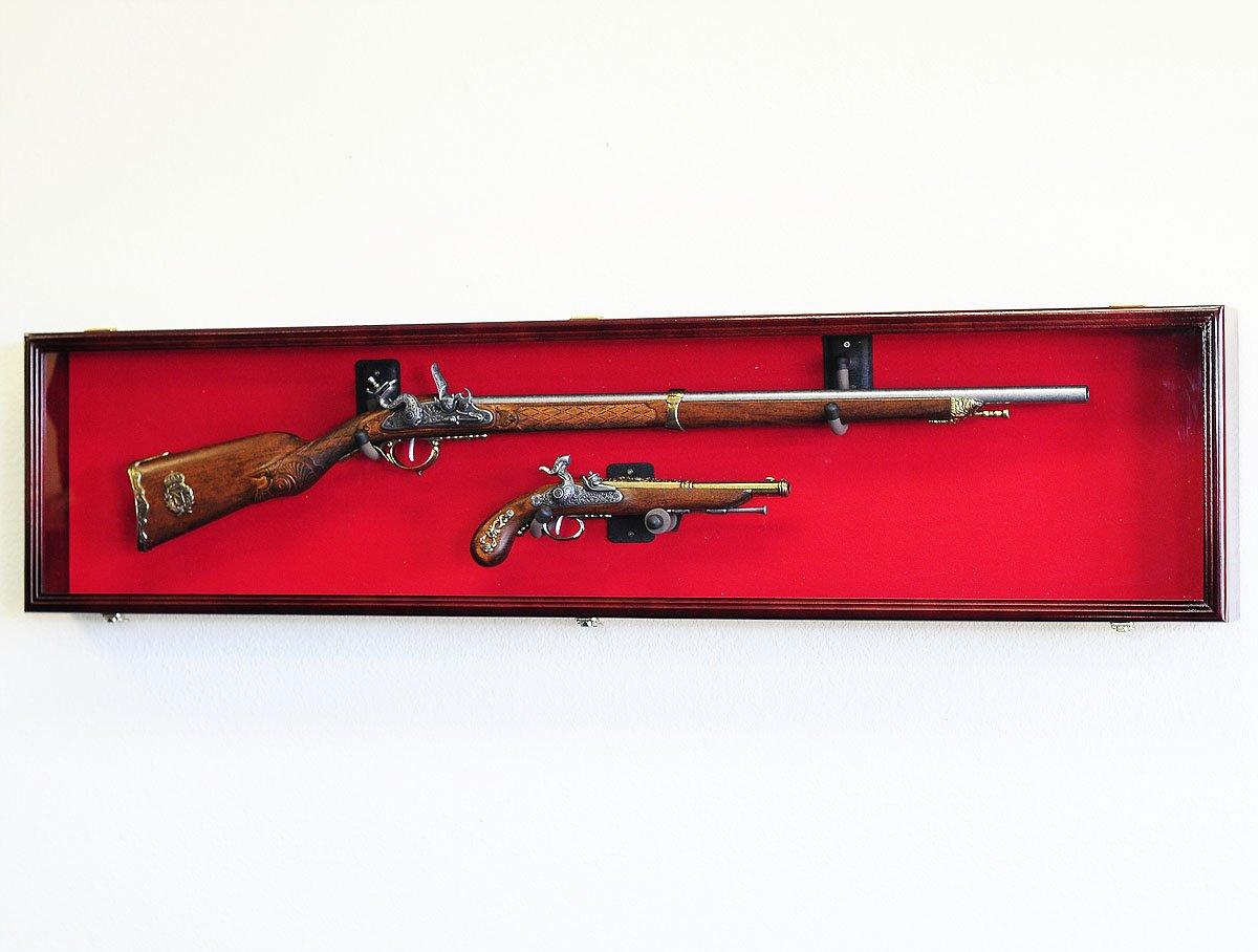 Double pistol handgun revolver gun display case cabinet rack shadowbox - Amazon Com Long Rifle Musket Gun Display Case Wall Rack Cabinet W Uv Protection Lockable Black Sports Outdoors