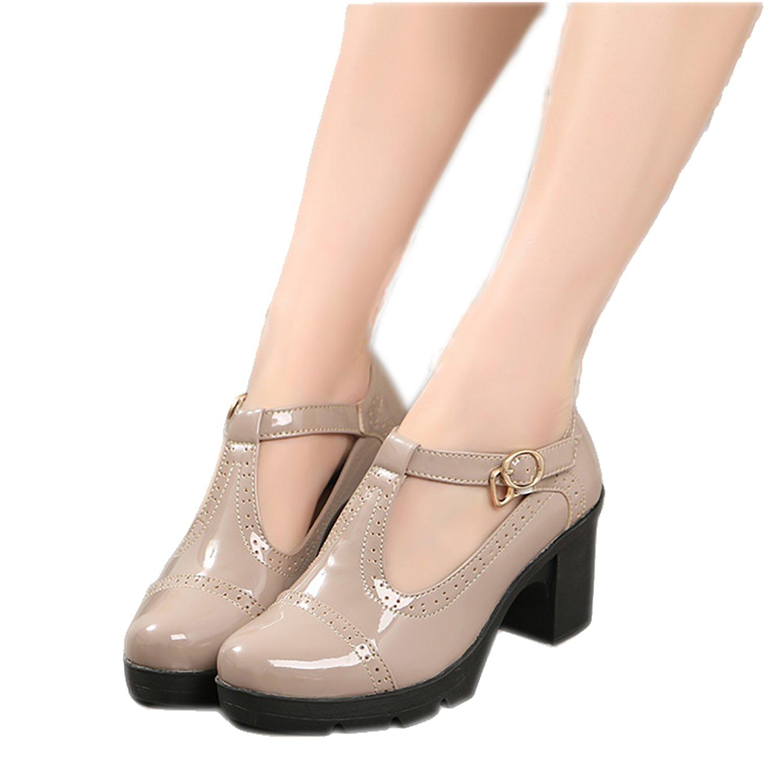 Xipai Women's T-Strap Platform Shoes Mid-Heel Vintage Oxfords Dress Shoes Apricot US 9