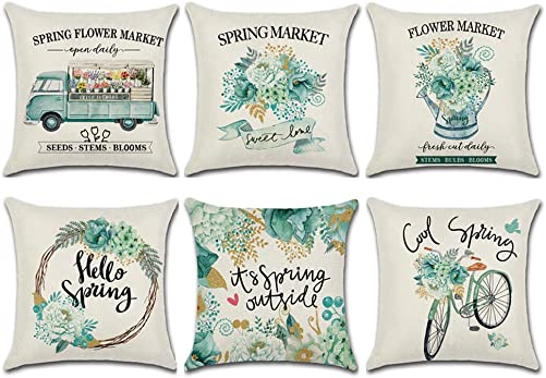 wtisan Spring Pillow Covers 18×18 Inchs for Home Decorations Farmhouse Decorative Floral Outdoor Throw Pillow Covers for Couch
