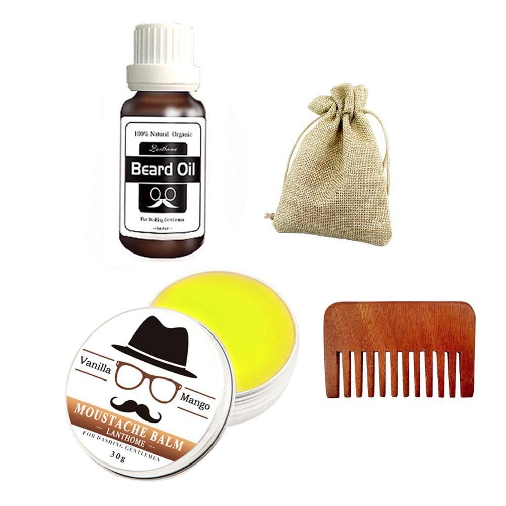 Beard Care Kit Grooming Beard Kit, Moustache Care Gift - Beard Oil, Beard Comb with Travel Bag Pawaca