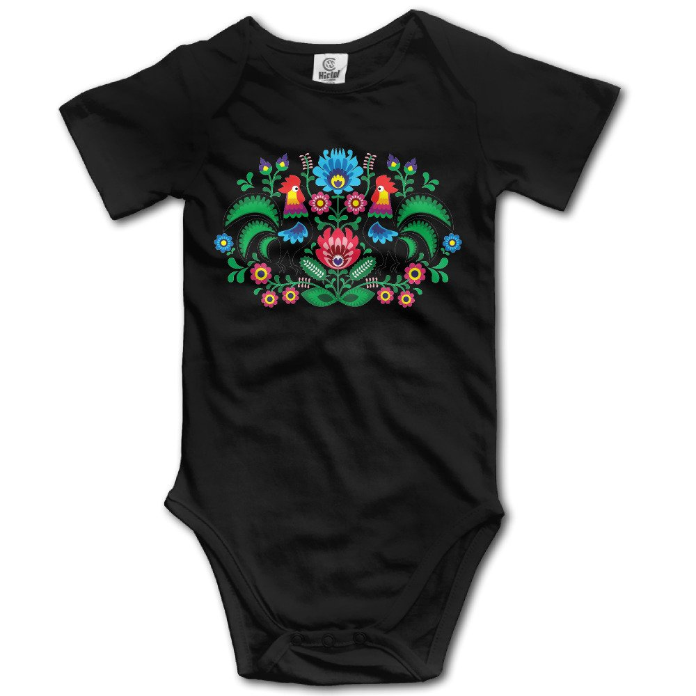Traditional Polish Floral Folk Embroidery Pattern Baby Sleeveless Bodysuits