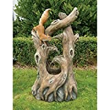 Water Fountain with LED Light - Nearly 3 Foot Tall Tree Squirrel Garden Decor Fountain - Outdoor Water Feature