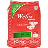 Wetex Supreme Adult Diaper (Multicolor, Large, Pack of 10)