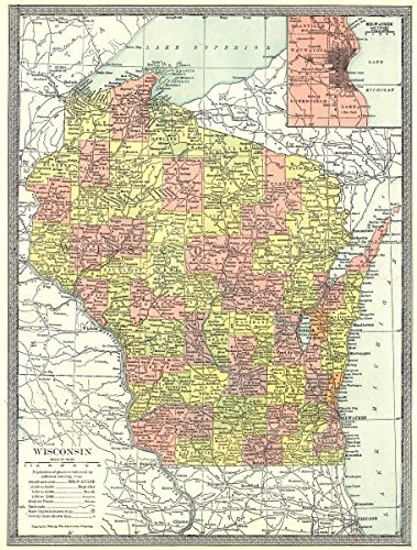 Milwaukee State Map.Amazon Com Wisconsin State Map Counties Inset Milwaukee Environs
