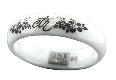 Amazoncom Heavenly Flower White Diamond Ceramic CTR Ring