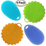 #2: Mizzuco Brush Mat Better Cleaning Dishwashing Silicon Mildew-Free Sponges (Pack of 4), 4 Piece