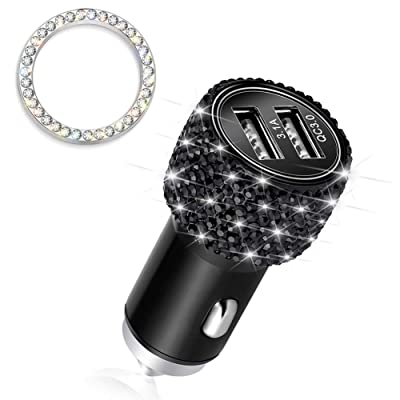Otostar Quick Charge 3.0 Car Charger Bling Car Accessories Crystal Diamond Dual USB Car Charger Adapter for iPhones Android Phones (Black): Home Audio & Theater