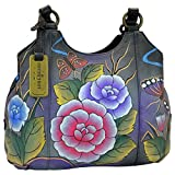Anuschka Womens Leather Hand Painted Triple Compartment Medium Satchel Handbag