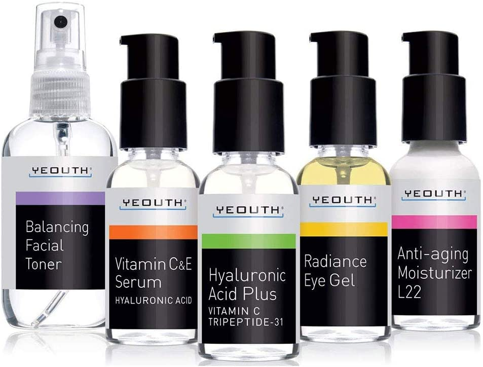 Yeouth Complete Anti Aging Skin Care Kit, 5 pack, Facial Toner, Face Serums, Eye Cream, Moisturizer