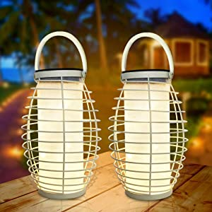 LVJING Solar Lights Outdoor Hanging Solar Lanterns Garden Outdoor Solar Lights 30 LEDs Solar Table Lights Waterproof Auto On/Off for Courtyard, Party, Walkway,Terrace, Garden, Lawn (2 Pack)