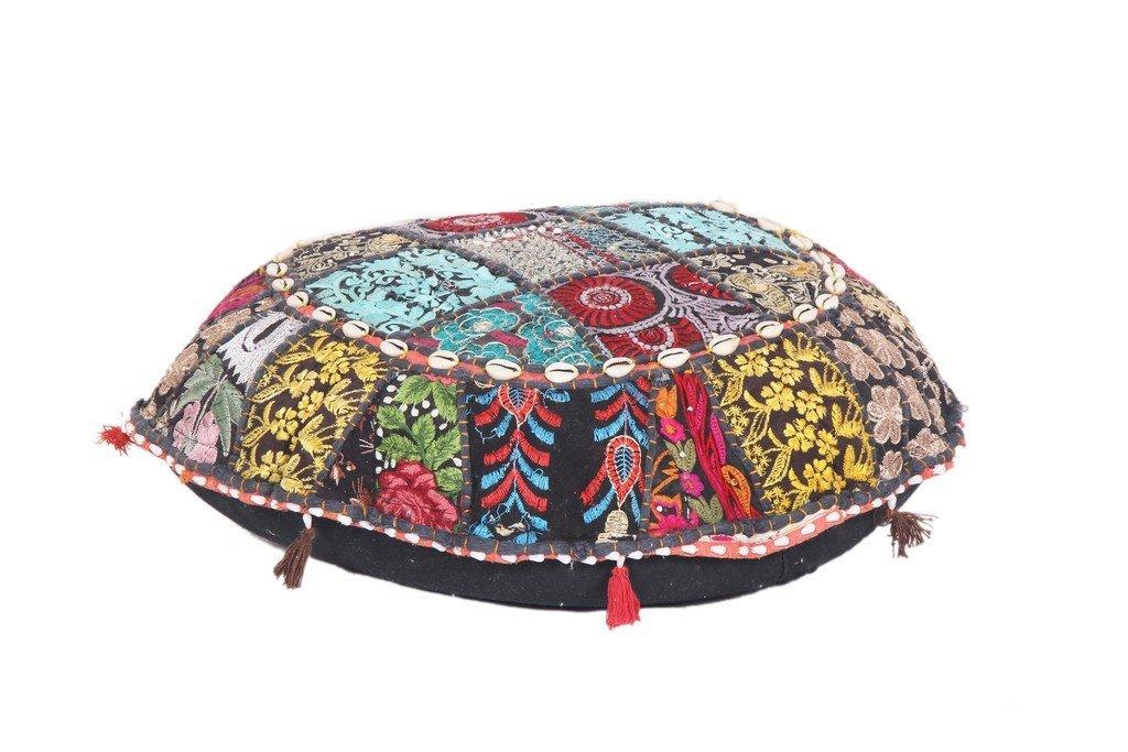 Antique Patchwork Bohemian Blue pouf Embroidered Footstool Decorative Ottoman Jaipur Textile Hub