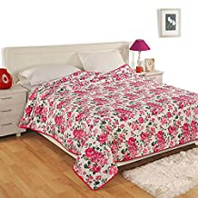 Handmade Indian Twin Size Cotton Voile Top Sheet - Lightweight, Soft Luxurious Blankets for Single Beds - 152 cm x 228 cm - Pink and Green Rose