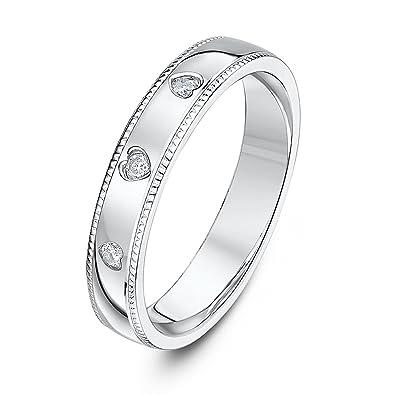 Theia 9ct White Gold Celtic Design 0.06ct Round Diamond 5mm Wedding Ring HMbeVRrfv