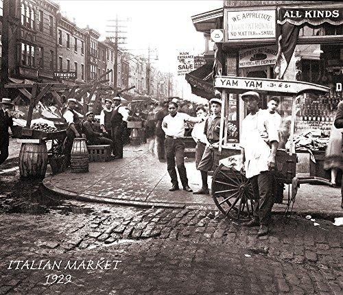 Classic Philadelphia's Italian Market in 1929 Canvas Art Print (12x14) (Amaze Art Gallery)