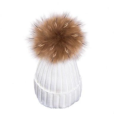810010af63 Yidarton Bonnet Femme Hiver Fourr¨¦ Chaud Crochet Laine Tricot Beanie avec  Gros Pompon en